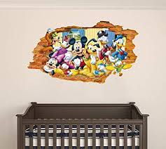 Amazon Com Mickey M And Friends 3d Smashed Wall Effect Wall Decal For Home Nursery Decoration Wide 20 X11 Height Inches Arts Crafts Sewing