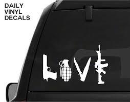 Gun Love Vinyl Decal Choose Size Color Pistol Decal Knife Grenade Rifle Sticker Love Weapons Decal Car Truck Decal Gun Safe Decal