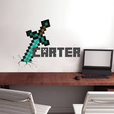 Boys Sword Personalized Name Wall Decal Bedroom Design Decals Video Game Wall Decal Murals Kids Bedroom Wallpaper Name Wall Decals Minecraft Bedroom Decor