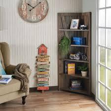 Furniture White Bookcase For Kids Room Corner Bookcases Wood Corner Ladder Shelf