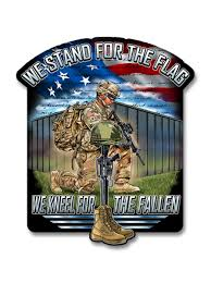 Stand For The Flag Kneel For The Fallen 4 Decal Skullsociety