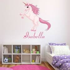 Custom Name Pink Unicorn Wall Decal Sticker Personalised Kids Room Ws 50962 Ebay