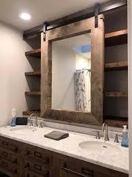 sliding mirror on barn door track and