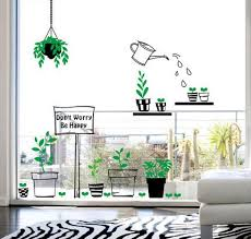 Fresh Green Bontany Wall Decals Flower Pot Watering Shop Window Wall Stickers Stick Inside Show Outside Glass Murals Leaf Vinyl Living Room Amagicalshop On Artfire