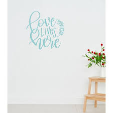 Vinyl Wall Decals Love Lives Here With Leaf Art Letters Sticker Quotes 18x18 Inch Beach House Walmart Com Walmart Com