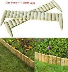 Deenz Log Roll Border Fixed Picket Fence Panel Edge Garden Patio Outdoor Lawn Edging 1 Meter Long Each Panel 4 Amazon Co Uk Garden Outdoors