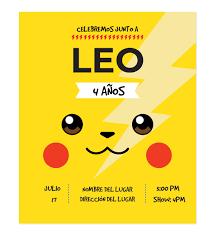 Invitacion Cumpleanos Pikachu Rayo Disenos Personalizados