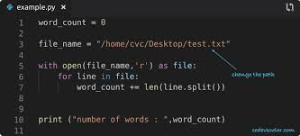 Python program to count the number of words in a file - Code vs Color