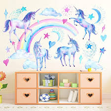 Amazon Com Unicorn Wall Decals Peel And Stick Unicorn Rainbow Vinyl Wall Stickers Removable Decals For Girls Bedroom Kids Room Nursery Unicorn Wall Art Home Decorations Party Supplies Home Kitchen