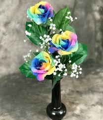 silk rainbow roses in bud vase kremp com
