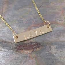 gold bar necklace hand stamped