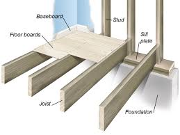 wood floor joist over concrete slab