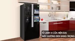 Tủ lạnh Hitachi 4 cánh màu đen đá tự động Inverter 540 lít  R-FW690PGV7X(GBK) Inverter tiết kiệm điện, Mặt gương sang trọng, dễ vệ  sinh, Làm đá tự động, Lấy nước bên