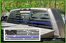 Amazon Com Blue Line American Flag Pick Up Truck Back Window Decal Matte Black Compatible With Tundra Chrome Titan Chrome Automotive
