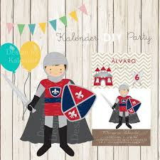 Medieval Knight Diy Happy Birthday Invitation Invitacion Fiesta