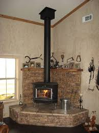 buck stove on large hearth with ht