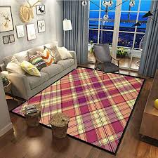 Amazon Com Checkered Rug For Bedroom For Kids Nursery Teens Room Girls Boys Retro Style Display With Vintage Scottish Celtic Striped Pattern Purple Coral Pale Yellow48x63 Inch Kitchen Dining