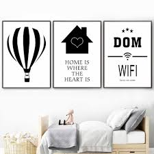 Home Wifi Hot Air Balloon Kids Bedroom Posters And Prints Canvas Painting Baby Girl Room Nordic Style Kids Decoration Painting Calligraphy Aliexpress