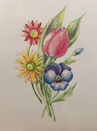 bouquet of flowers with colored pencils