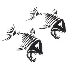 2 Pcs Fish Teeth Mouth Stickers Skeleton Fish Stickers Graphics Accessories For Kayak Fishing Boat Canoe Dinghy Window Car Rowing Boats Aliexpress