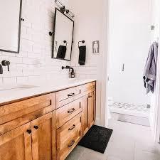 Boys Bathroom With White Subway Tile And Black Accents White Bathroom Tiles Black Bathroom Tile Bathroom