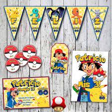 Kit Pokemon Invitaciones Stickers Banderin Cartel Cumple