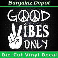 Vinyl Decal Good Vibes Only Car Laptop Sticker Decal Peace Sign Hand Hippie Hippie Decals Good Vibes Only Vinyl Decals
