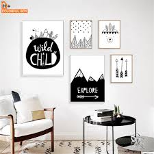 Colorfulboy Arrow Explore Child Wall Art Print Canvas Painting Nordic Poster Black White Cartoon Wall Pictures Kids Room Decor Wall Pictures Posters Black Whiteprinted Canvas Aliexpress