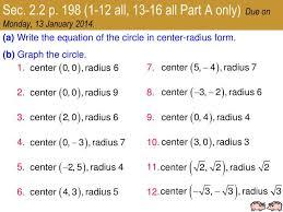 equation of a circle with radius 6