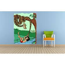Jungle Book Mowgli Kaa Cartoon Colorful Decor Wall Sticker Art Design Decal For Girls Boys Kids Room Bedroom Nursery Kindergarten House Fun Home Decor Stickers Wall Art Vinyl Decoration 40x20 Inch