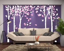 Amazon Com Amaonm 104 X71 Giant Large Jungle 5 White Trees Wall Decals Pink Leaves And Fly Birds Wallpaper Wall Decor Diy Vinyl Wall Stickers For Kids Bedroom Living Room Nursery Rooms Offices Walls
