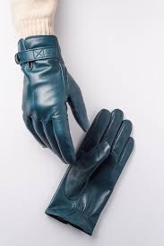 mens leather gloves winter lined blue