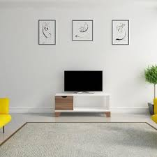 Decorotika Osco 35 Wide Modern Tv Stand For Tvs Up To 40 Ideal For Small Living Room Or Kids Room White Walnut