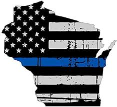 Amazon Com Wisconsin Tattered Thin Blue Line Us Flag Honoring Our Men Women Of Law Enforcement Car Symbol Sticker Decal Die Cut Vinyl Window Computer Made And Shipped In Usa Arts