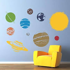 Amazon Com Solar System With Sun Vinyl Wall Decal Children Wall Decals Solar System Wall Art Handmade