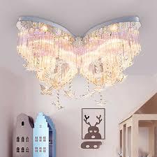 Butterfly Crystal Led Chandelier Kids Bedroom Flush Mount Ceiling Light Dimmable Ebay