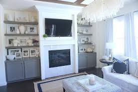 fireplace with floating shelves