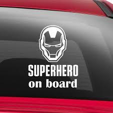 Superhero On Board Car Sticker Car Window Decal Baby Decal Etsy