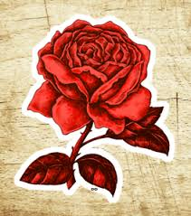 Red Rose Decal Sticker Roses Tattoo Vintage 3 5 8 X 2 5 8 Vinyl Ebay