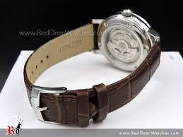 white dial brown leather mens watch