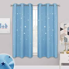 Amazon Com Nicetown Star Patterned Blackout Curtains Baby Blue Starry Night Curtains For Kids Room Nursery Essential Blackout Thick And Soft Window Coverings With Star Die Out 42 X 63 Inches 2 Panels