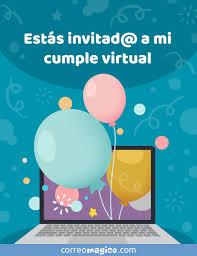 Tarjeta De Cumpleanos Estas Invitad A Mi Cumple Virtual Para