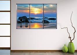 Beach Rocks Sunrise Landscape Window View Wall Art Sticker Etsy