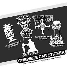 White Stick Emall Vinyl Decals One Piece Luffy Straw Hat Pirate Anime Car Decal Sticker Cars Laptops Windows Exterior Accessories Bumper Stickers Decals Magnets