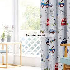 Cute Cartoon Curtain For Kid With Cars Pattern