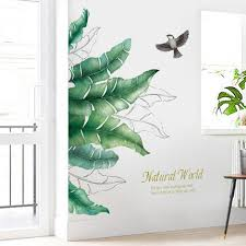 Large Tropical Banana Leaf With Bird Wall Sticker Green Plant Natural Wall Decal Natural Botany Living Room Wall Decor Greenery Peel Stick Thefuns On Artfire