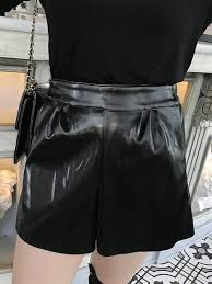 plus size shorts solid color high waist