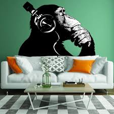 Banksy Wall Decal Thinking Monkey Art Sticker Dj Chimp The Etsy