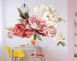 Giant Peony Wall Stickers Floral Wall Mural Watercolor Peony Wallpaper Mural Peel Stick Removable Wal Vinyl Wall Flowers Floral Wall Decals Floral Wall