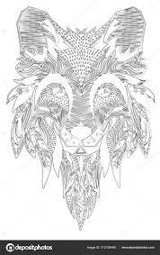Fox Handgetekende Met Etnische Floral Doodle Patroon Kleurplaat